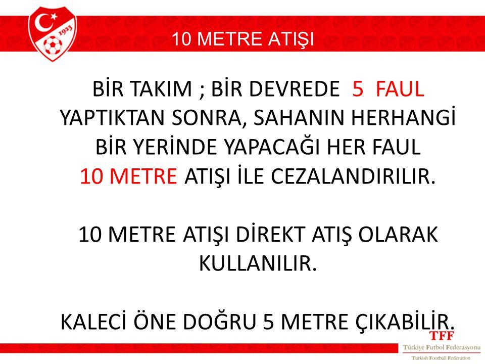 10 METRE ATIŞI BİR TAKIM ; BİR DEVREDE 5 FAUL YAPTIKTAN SONRA, SAHANIN HERHANGİ BİR YERİNDE YAPACAĞI HER FAUL 10 METRE ATIŞI İLE CEZALANDIRILIR. 10 ME