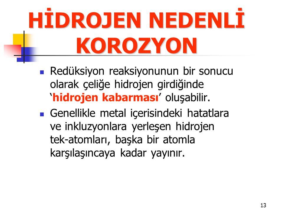 13 HİDROJEN NEDENLİ KOROZYON Redüksiyon reaksiyonunun bir sonucu olarak çeliğe hidrojen girdiğinde 'hidrojen kabarması' oluşabilir.