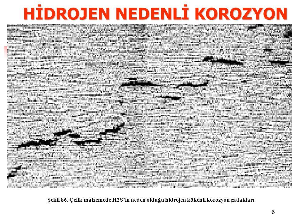 6 HİDROJEN NEDENLİ KOROZYON Şekil 86.