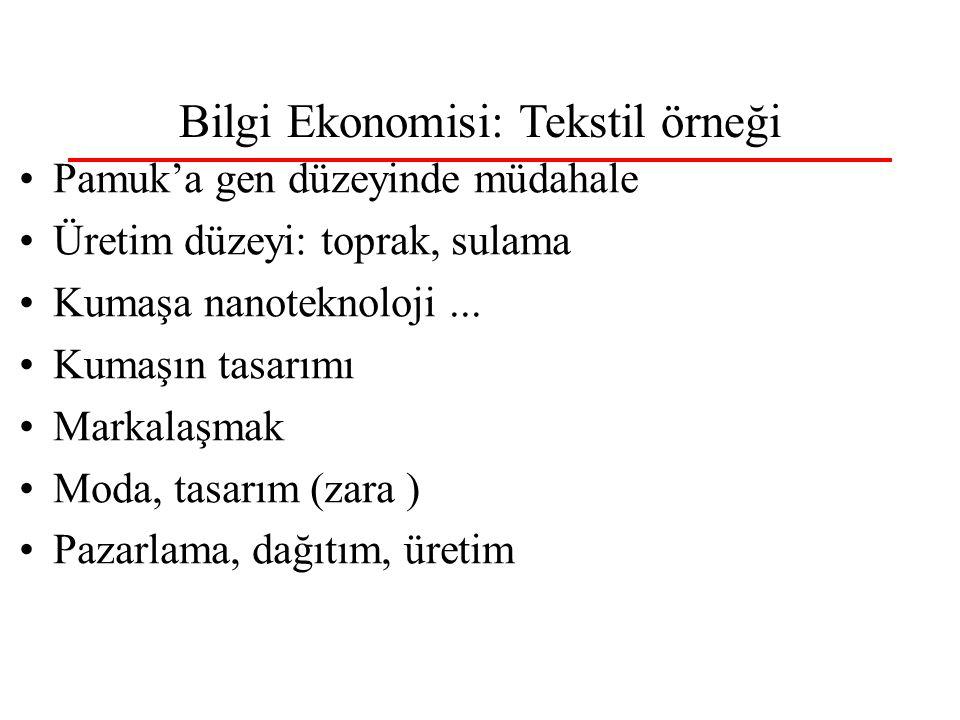 Bilgi Ekonomisi: Tekstil örneği Pamuk'a gen düzeyinde müdahale Üretim düzeyi: toprak, sulama Kumaşa nanoteknoloji...
