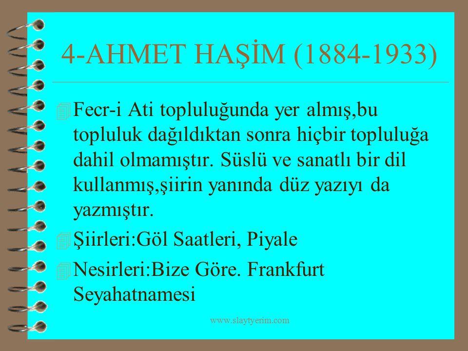 www.slaytyerim.com 5-ÖMER SEYFETTİN (1864-1920) 4 Milli edebiyatın önemli temsilcilerindendir.Türkçe'nin sadeleşmesi,yabancı kelimelerin,tamlamaların,kuralların Türkçe'den atılması için vermiş, edebiyatımızda hikayeleri ile tanınmış bir yazarımızdır.