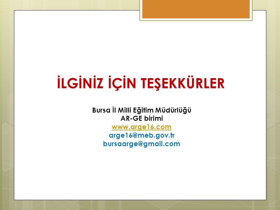 İLGİNİZ İÇİN TEŞEKKÜRLER Bursa İl Milli Eğitim Müdürlüğü AR-GE birimi www.arge16.com arge16@meb.gov.tr bursaarge@gmail.com
