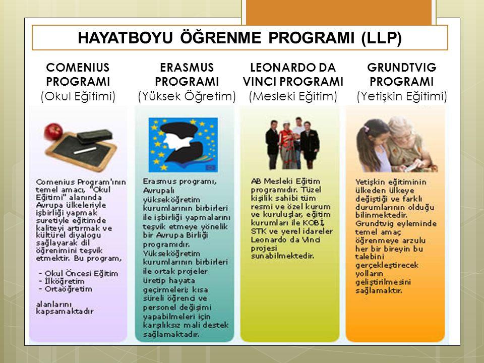 HAYATBOYU ÖĞRENME PROGRAMI (LLP) COMENIUS PROGRAMI (Okul Eğitimi) ERASMUS PROGRAMI (Yüksek Öğretim) LEONARDO DA VINCI PROGRAMI (Mesleki Eğitim) GRUNDTVIG PROGRAMI (Yetişkin Eğitimi)