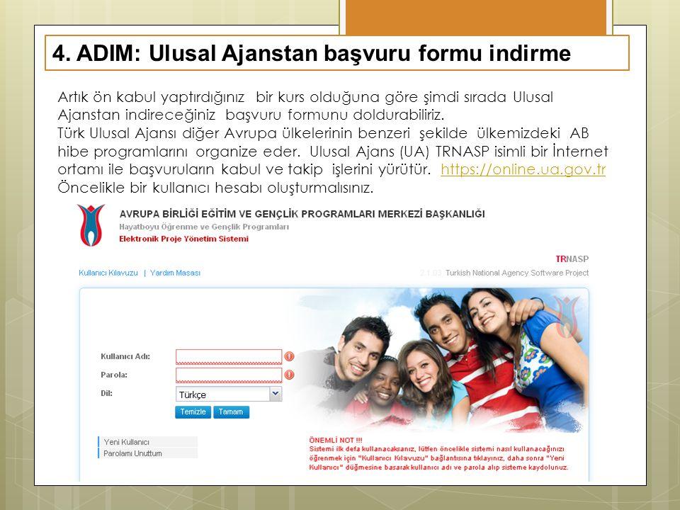 4. ADIM: Ulusal Ajanstan başvuru formu indirme Artık ön kabul yaptırdığınız bir kurs olduğuna göre şimdi sırada Ulusal Ajanstan indireceğiniz başvuru