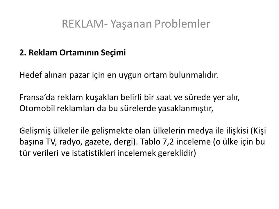 REKLAM- Yaşanan Problemler 2.