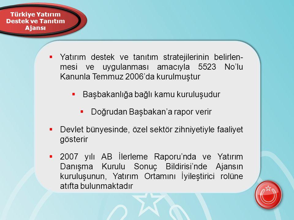 Türkiye Yatırım Destek ve Tanıtım Ajansı  Yatırım destek ve tanıtım stratejilerinin belirlen- mesi ve uygulanması amacıyla 5523 No'lu Kanunla Temmuz