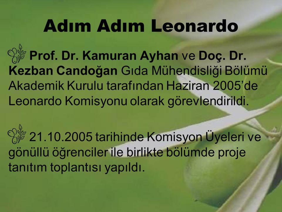 Adım Adım Leonardo Prof. Dr. Kamuran Ayhan ve Doç. Dr. Kezban Candoğan Gıda Mühendisliği Bölümü Akademik Kurulu tarafından Haziran 2005'de Leonardo Ko