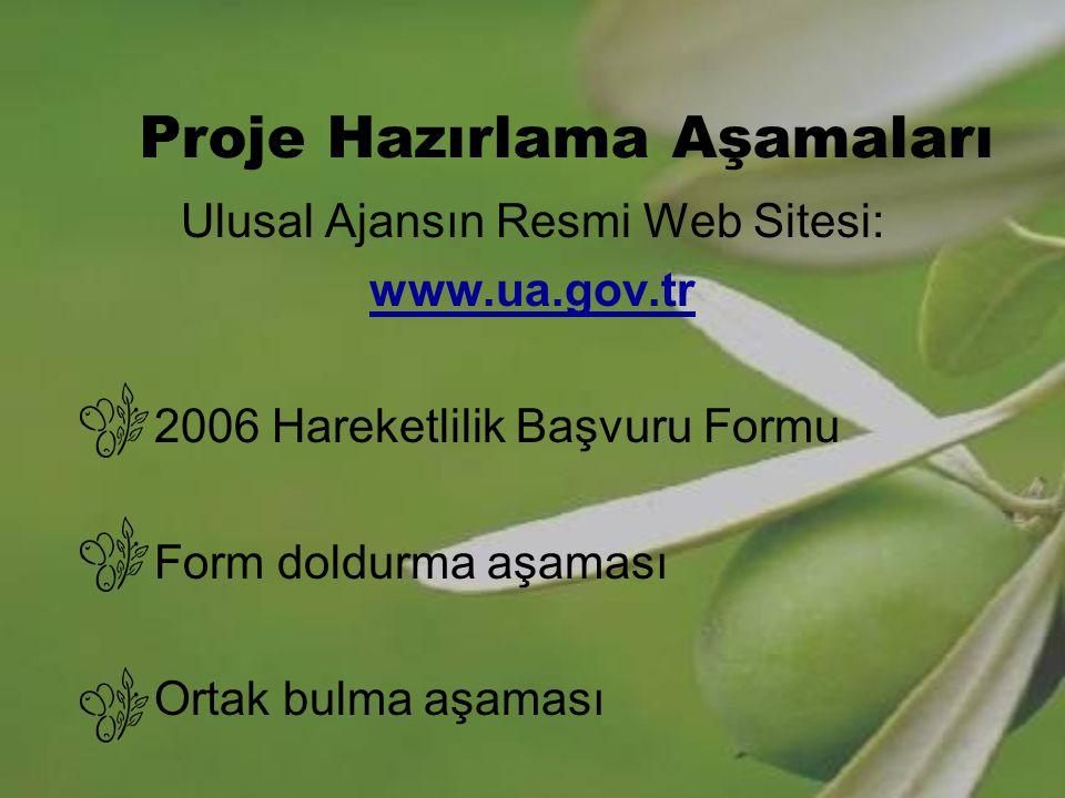 Proje Hazırlama Aşamaları Ulusal Ajansın Resmi Web Sitesi: www.ua.gov.tr 2006 Hareketlilik Başvuru Formu Form doldurma aşaması Ortak bulma aşaması