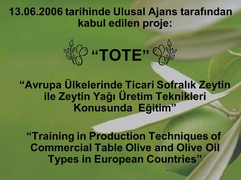 """13.06.2006 tarihinde Ulusal Ajans tarafından kabul edilen proje: """" TOTE """" """"Avrupa Ülkelerinde Ticari Sofralık Zeytin ile Zeytin Yağı Üretim Teknikleri"""