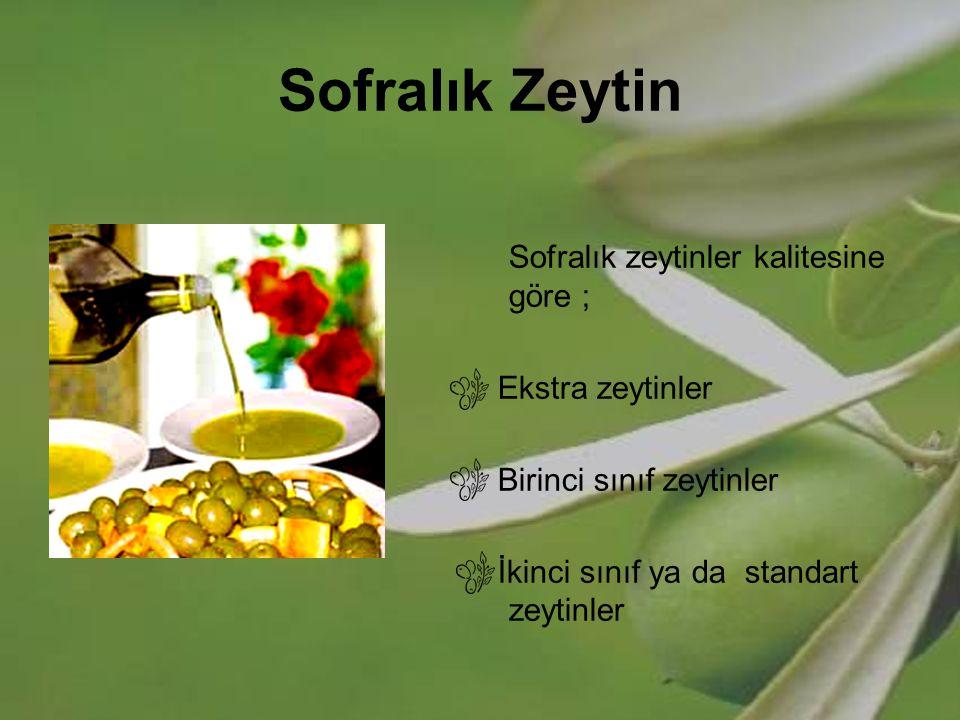 Sofralık Zeytin Sofralık zeytinler kalitesine göre ; Ekstra zeytinler Birinci sınıf zeytinler İkinci sınıf ya da standart zeytinler
