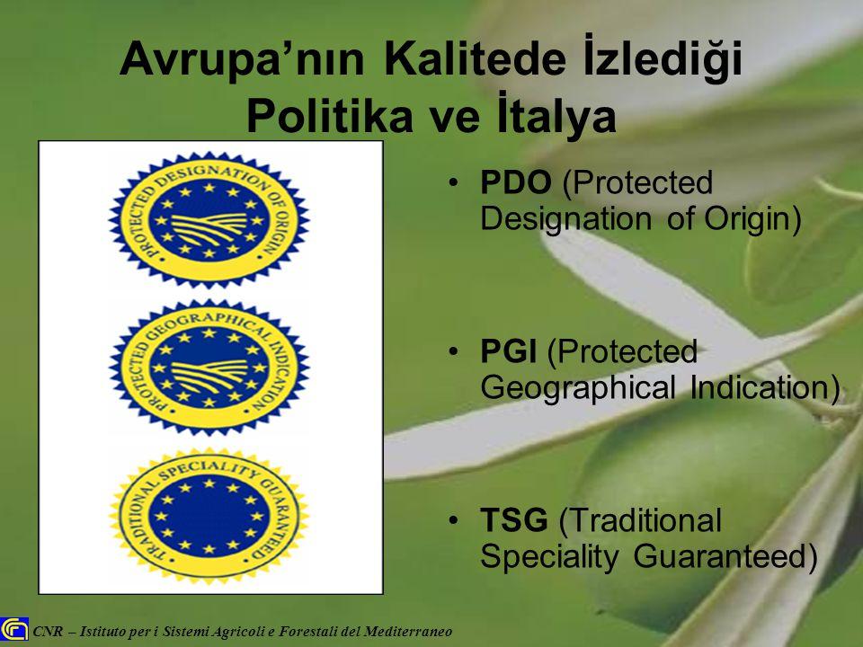 CNR – Istituto per i Sistemi Agricoli e Forestali del Mediterraneo Avrupa'nın Kalitede İzlediği Politika ve İtalya PDO (Protected Designation of Origi