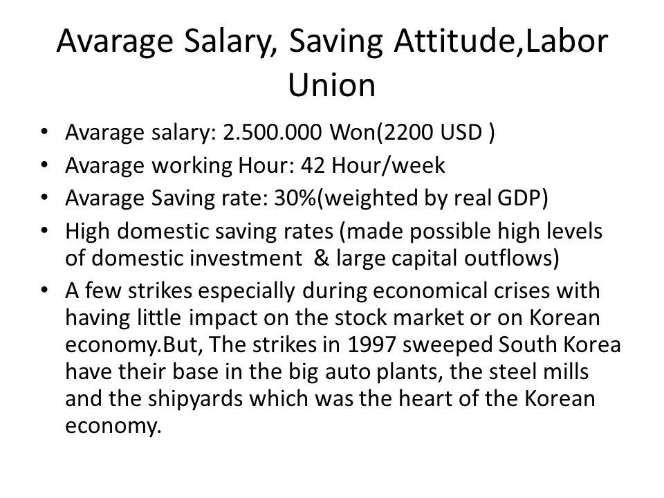 Avarage Salary, Saving Attitude,Labor Union Avarage salary: 2.500.000 Won(2200 USD ) Avarage working Hour: 42 Hour/week Avarage Saving rate: 30%(weigh