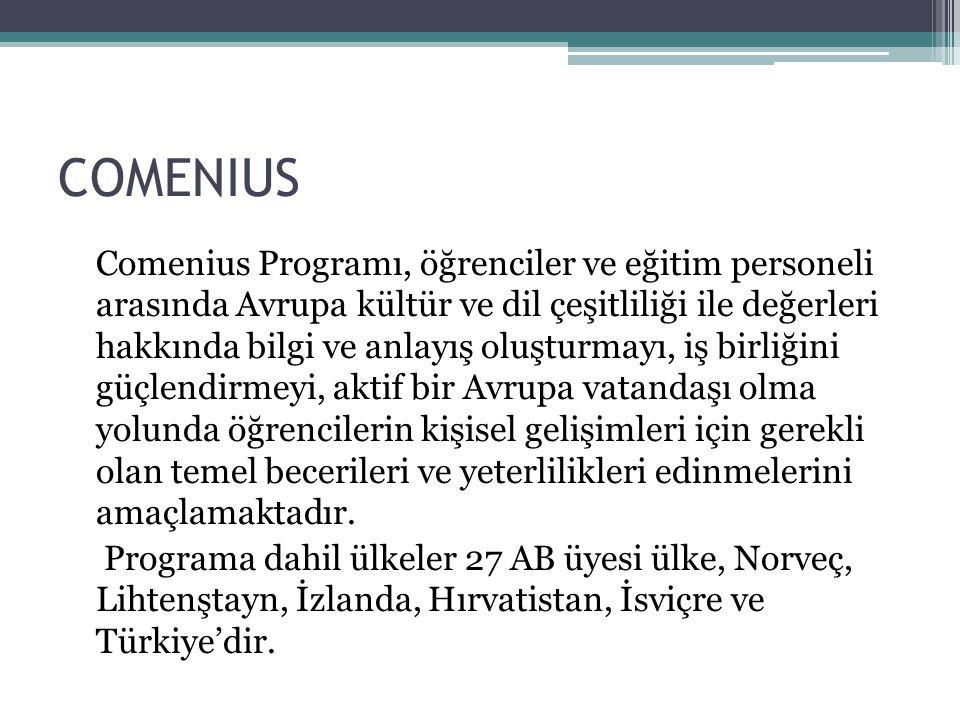 COMENIUS Faaliyetin Hedefleri Ülkeler arası iş birliğini geliştiren, okul eğitimi alanında çalışan personelin mesleki gelişimine katkıda bulunan çalışmaları destekleyen program, Avrupa dillerinin öğretilmesinin yaygınlaştırılmasını teşvik eder ve kültürler arası diyalog konusunda etkili çalışmalara imkan sağlar.