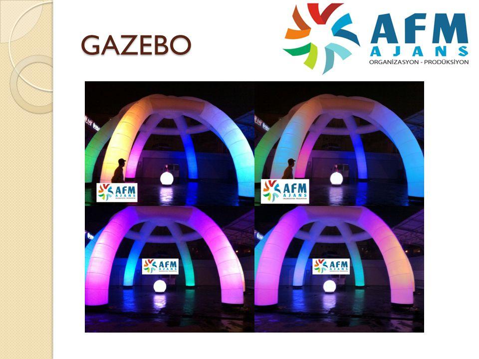 GAZEBO Ortamı renklendirmek için özellikle akşam vakitlerinde kullanılan ürünümüzdür.