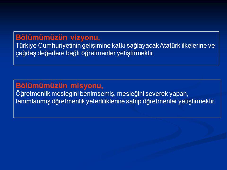 Bölümümüzün vizyonu, Türkiye Cumhuriyetinin gelişimine katkı sağlayacak Atatürk ilkelerine ve çağdaş değerlere bağlı öğretmenler yetiştirmektir. Bölüm