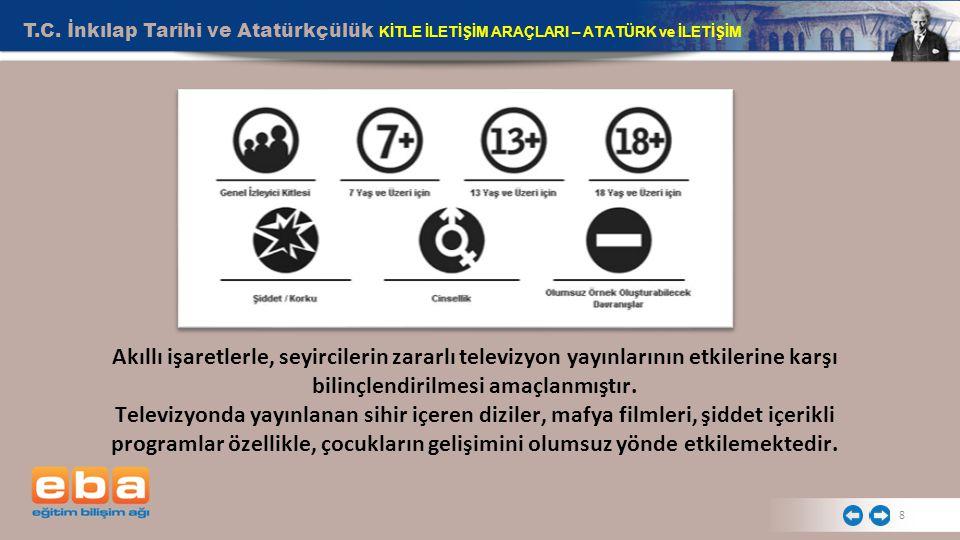 T.C. İnkılap Tarihi ve Atatürkçülük KİTLE İLETİŞİM ARAÇLARI – ATATÜRK ve İLETİŞİM 8 Akıllı işaretlerle, seyircilerin zararlı televizyon yayınlarının e