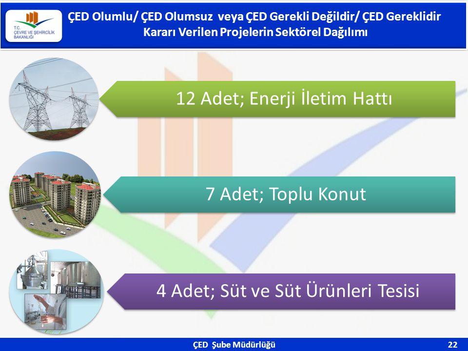 ÇED Şube Müdürlüğü 22 ÇED Olumlu/ ÇED Olumsuz veya ÇED Gerekli Değildir/ ÇED Gereklidir Kararı Verilen Projelerin Sektörel Dağılımı 12 Adet; Enerji İl