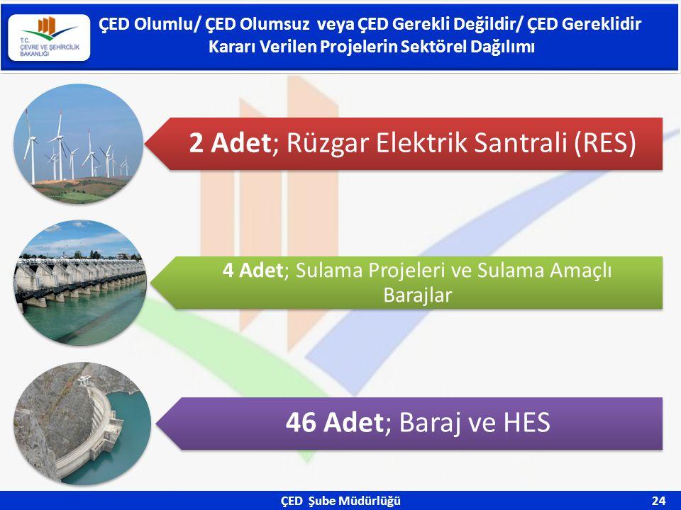 ÇED Şube Müdürlüğü 24 ÇED Olumlu/ ÇED Olumsuz veya ÇED Gerekli Değildir/ ÇED Gereklidir Kararı Verilen Projelerin Sektörel Dağılımı 2 Adet; Rüzgar Ele