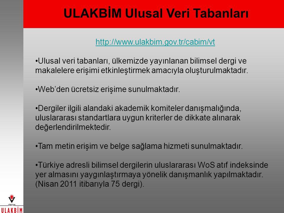 Yaşam Bilimleri Veri Tabanı (1992- ) Eski Adı: Tarım, Veteriner ve Biyoloji Bilimleri Veri Tabanı Tarım, Ormancılık, Veterinerlik, Su Ürünleri, Gıda ve Gıda Teknolojisi ile Biyoloji bilim dallarında Türkiye de yayımlanan süreli yayınlarda bulunan Türkçe ve diğer dillerdeki özgün araştırma/derleme makaleleri ve olgu sunumları http://www.ulakbim.gov.tr/cabim/vt/uvt/tarim 109 Dergi 20411 Makale 6149 Tam Metin