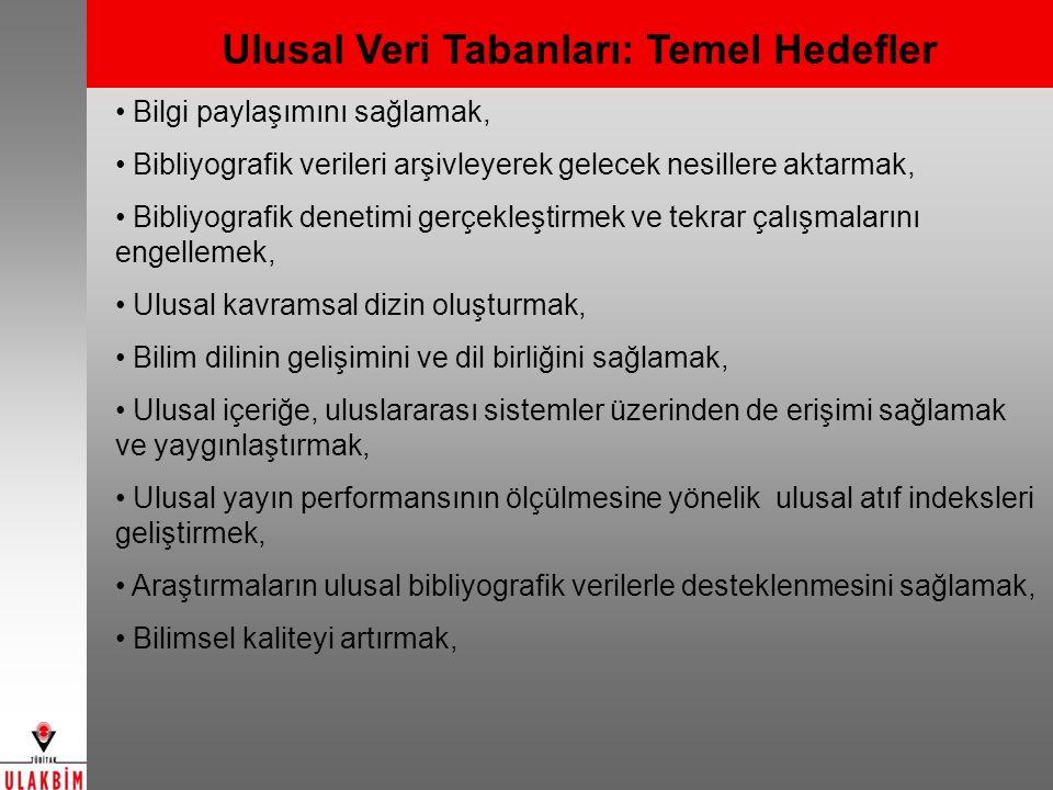 TÜBİTAK ULAKBİM Veri Tabanları TÜBİTAK Destekli Projeler Veri Tabanı [1966-] Yaşam Bilimleri Veri Tabanı [1992-] Eski Adı: Tarım, Veteriner ve Biyoloji Bilimleri Veri Tabanı Türk Tıp Veri Tabanı [1993-] Mühendislik ve Temel Bilimler Veri Tabanı [1992-] Sosyal ve Beşeri Bilimler Veri Tabanı [2002-] Eski Adı: Sosyal Bilimler Veri Tabanı Hukuk Veri Tabanı [2010- ] YENİ Türkiye Akademik Atıf Sistemi (TAKA) [2011-] YENİ
