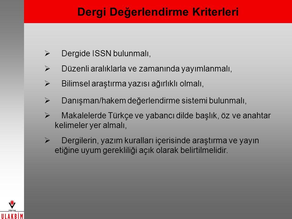 Türkiye Akademik Atıf Sistemi (TAKA) Türkiye'nin ulusal bilimsel yayın performansının ölçümlenmesi ve ulusal bilim haritasının çıkarılması Kurum, yazar (kişi), bilim dalı, şehir gibi alanlara göre analiz (yayın sayıları ve dağılımları, etki ortalamaları) Yazar, kurum, bilim dalı atıf sayıları Dergi atıf raporları Alandaki en etkili makalelerin tespiti Kurumların araştırma odak noktasının tespiti Kurumun en etkili olduğu alanın belirlenmesi Kurumların ortalama atıf oranları Kurumlar arası, ülkeler arası işbirlikleri 2000-