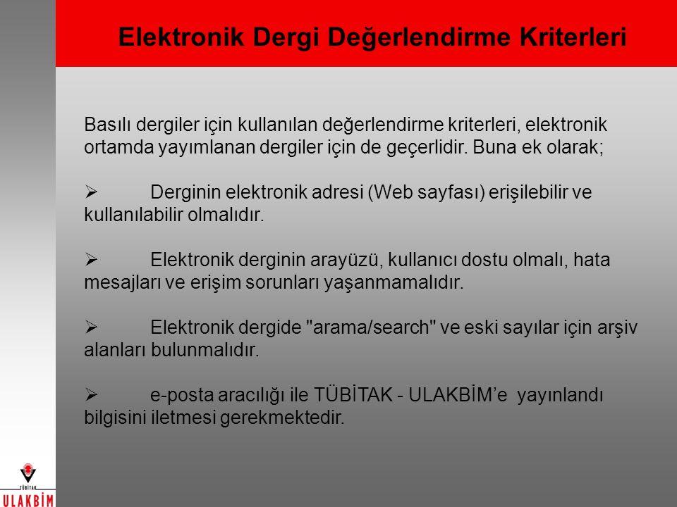 Türkiye Akademik Atıf Sistemi (TAKA) İlk Etap : UVT'lerde dizinlenen dergiler 2.