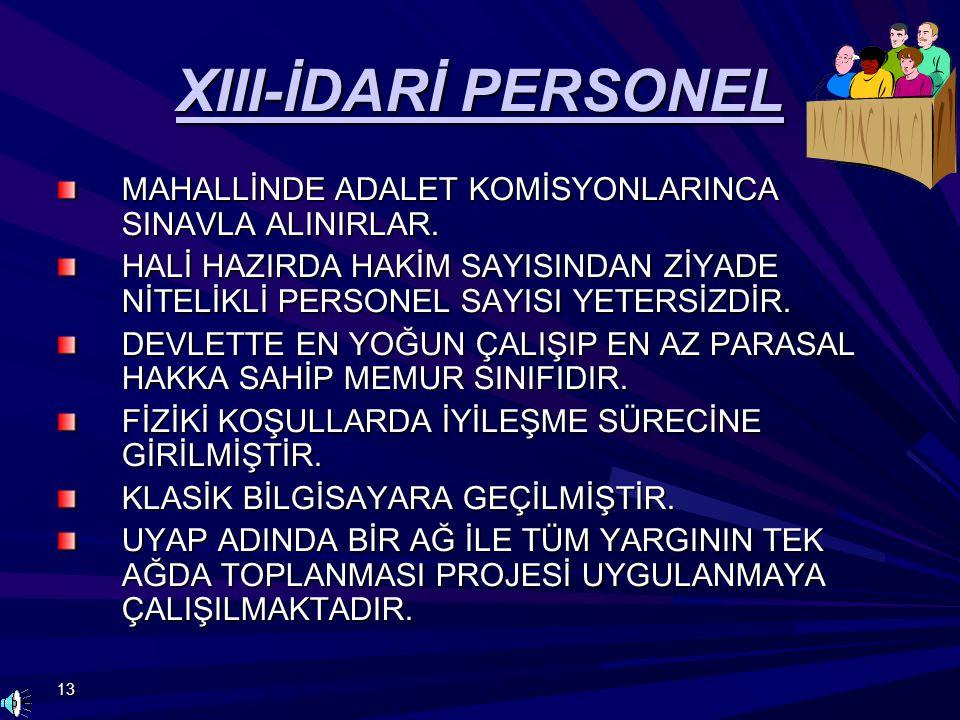 13 XIII-İDARİ PERSONEL MAHALLİNDE ADALET KOMİSYONLARINCA SINAVLA ALINIRLAR. HALİ HAZIRDA HAKİM SAYISINDAN ZİYADE NİTELİKLİ PERSONEL SAYISI YETERSİZDİR