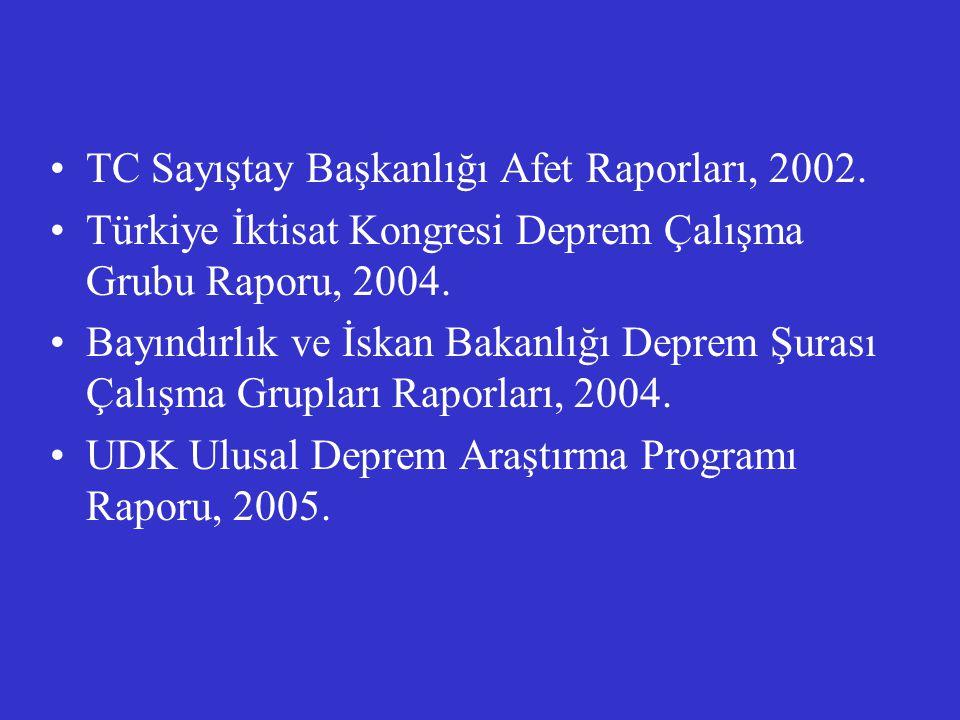 TC Sayıştay Başkanlığı Afet Raporları, 2002. Türkiye İktisat Kongresi Deprem Çalışma Grubu Raporu, 2004. Bayındırlık ve İskan Bakanlığı Deprem Şurası