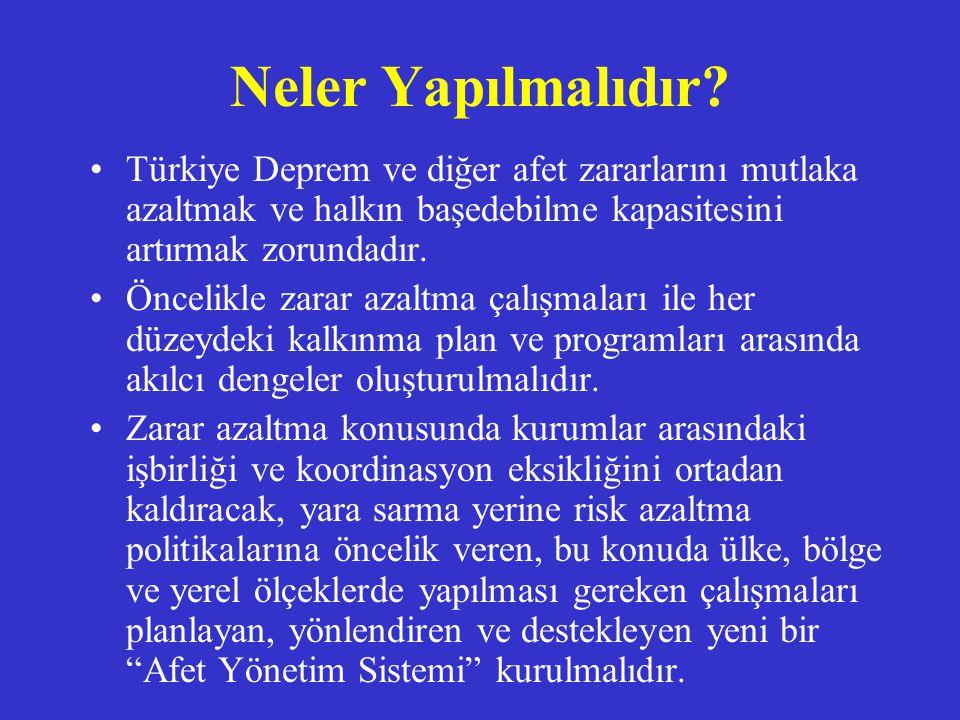 Neler Yapılmalıdır? Türkiye Deprem ve diğer afet zararlarını mutlaka azaltmak ve halkın başedebilme kapasitesini artırmak zorundadır. Öncelikle zarar