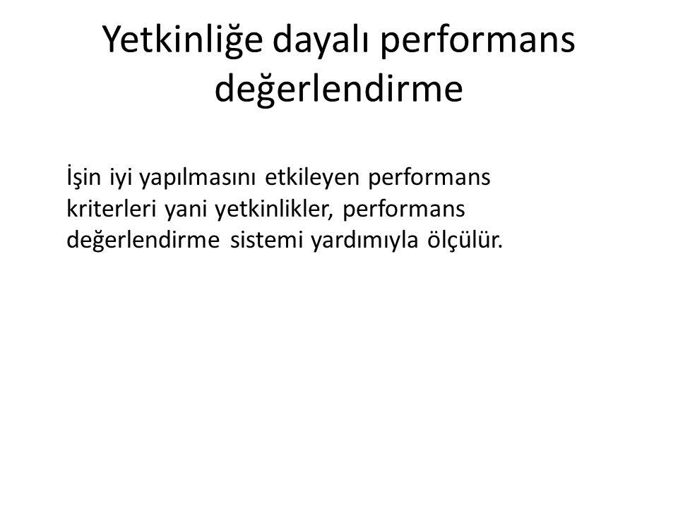 Yetkinliğe dayalı performans değerlendirme İşin iyi yapılmasını etkileyen performans kriterleri yani yetkinlikler, performans değerlendirme sistemi yardımıyla ölçülür.