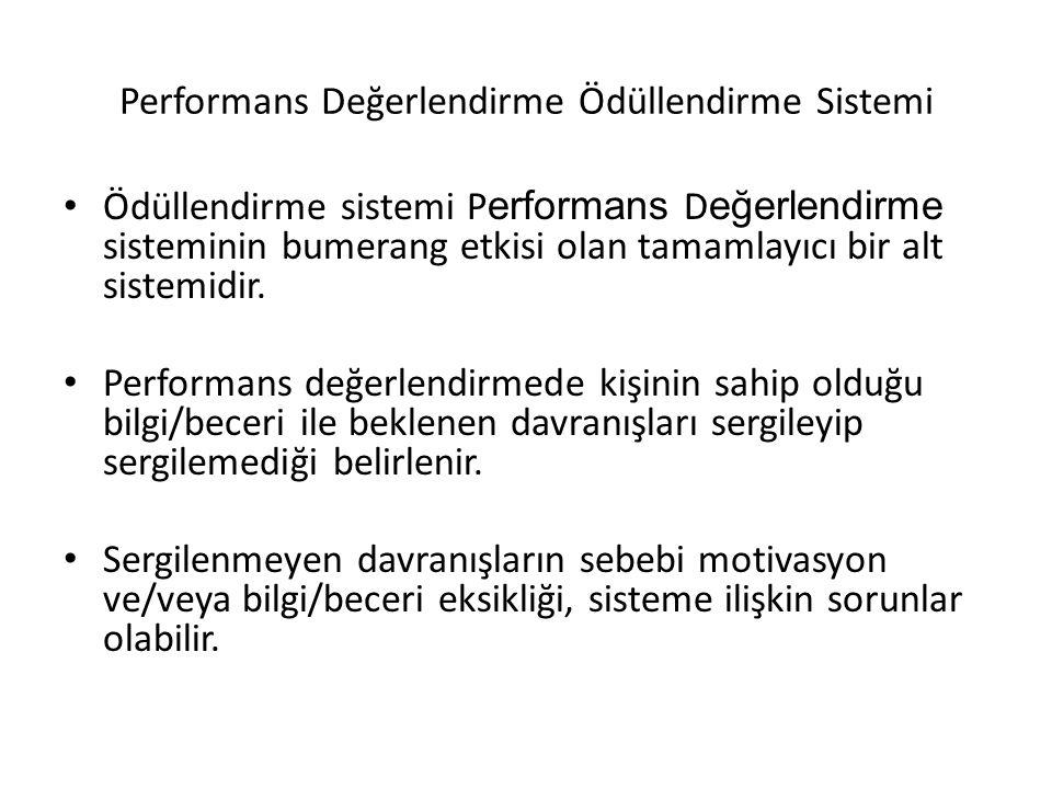 Performans Değerlendirme Ödüllendirme Sistemi Ödüllendirme sistemi P erformans D eğerlendirme sisteminin bumerang etkisi olan tamamlayıcı bir alt sist