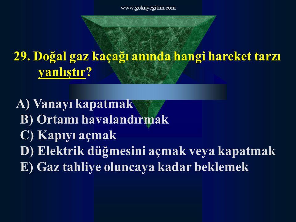 www.gokayegitim.com 29.Doğal gaz kaçağı anında hangi hareket tarzı yanlıştır.