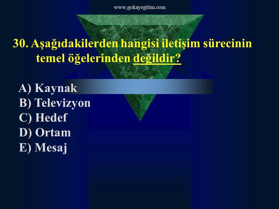 www.gokayegitim.com 30.Aşağıdakilerden hangisi iletişim sürecinin temel öğelerinden değildir.