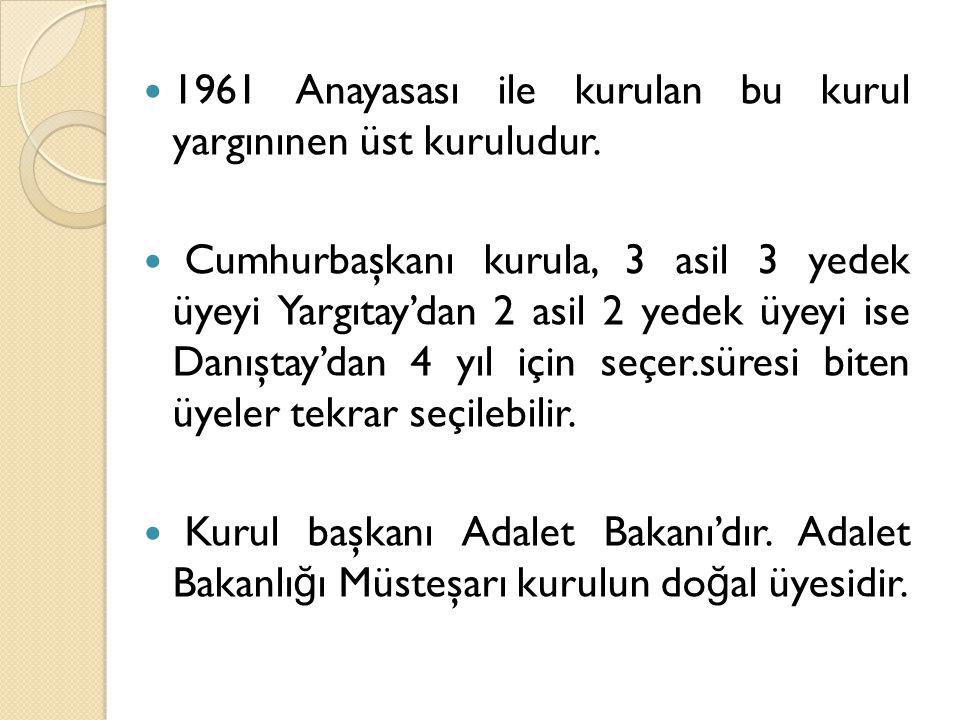 1961 Anayasası ile kurulan bu kurul yargınınen üst kuruludur.