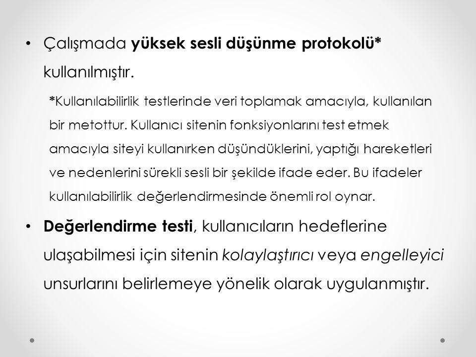 Çalışmada yüksek sesli düşünme protokolü* kullanılmıştır. * Kullanılabilirlik testlerinde veri toplamak amacıyla, kullanılan bir metottur. Kullanıcı s