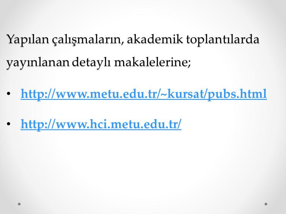 Yapılan çalışmaların, akademik toplantılarda yayınlanan detaylı makalelerine; http://www.metu.edu.tr/~kursat/pubs.html http://www.hci.metu.edu.tr/