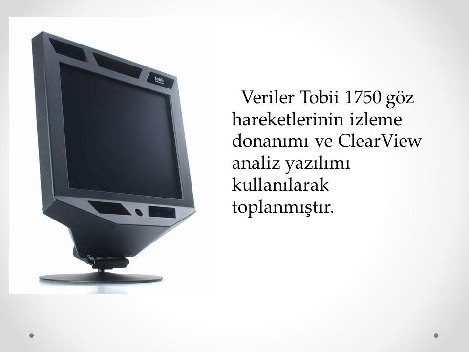 Veriler Tobii 1750 göz hareketlerinin izleme donanımı ve ClearView analiz yazılımı kullanılarak toplanmıştır.