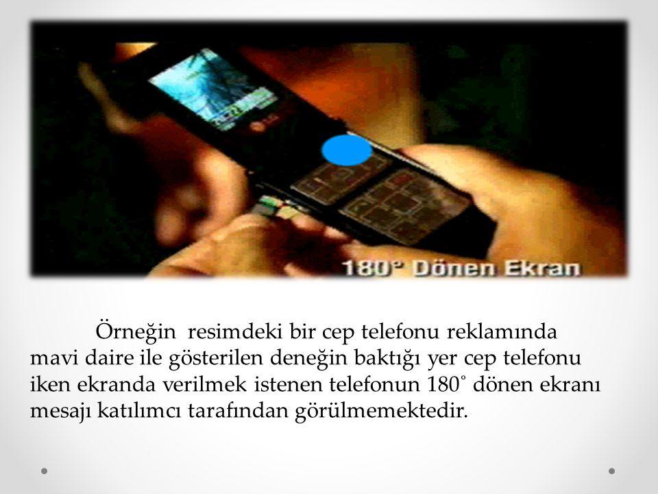 Örneğin resimdeki bir cep telefonu reklamında mavi daire ile gösterilen deneğin baktığı yer cep telefonu iken ekranda verilmek istenen telefonun 180˚