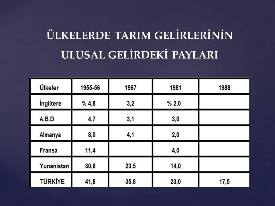 ÜLKELERDE TARIM GELİRLERİNİN ULUSAL GELİRDEKİ PAYLARI
