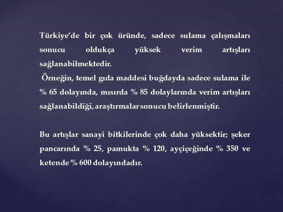 Türkiye'de bir çok üründe, sadece sulama çalışmaları sonucu oldukça yüksek verim artışları sağlanabilmektedir. Örneğin, temel gıda maddesi buğdayda sa