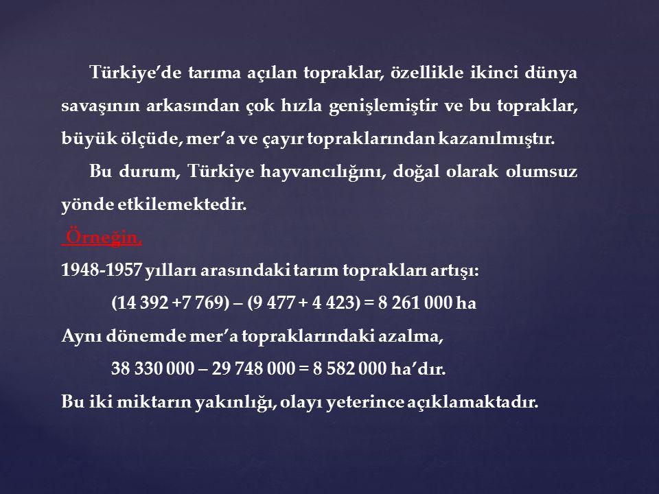 Türkiye'de tarıma açılan topraklar, özellikle ikinci dünya savaşının arkasından çok hızla genişlemiştir ve bu topraklar, büyük ölçüde, mer'a ve çayır