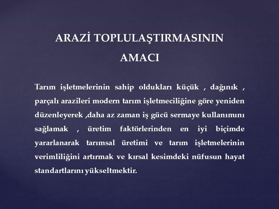 ARAZİ TOPLULAŞTIRILMASI HANGİ HUSUSLARI KAPSAMAKTADIR.