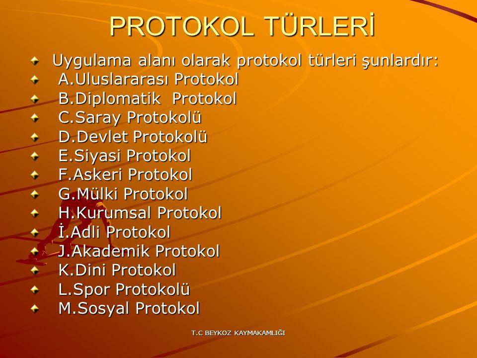 T.C BEYKOZ KAYMAKAMLIĞI PROTOKOL TÜRLERİ PROTOKOL TÜRLERİ Uygulama alanı olarak protokol türleri şunlardır: Uygulama alanı olarak protokol türleri şun