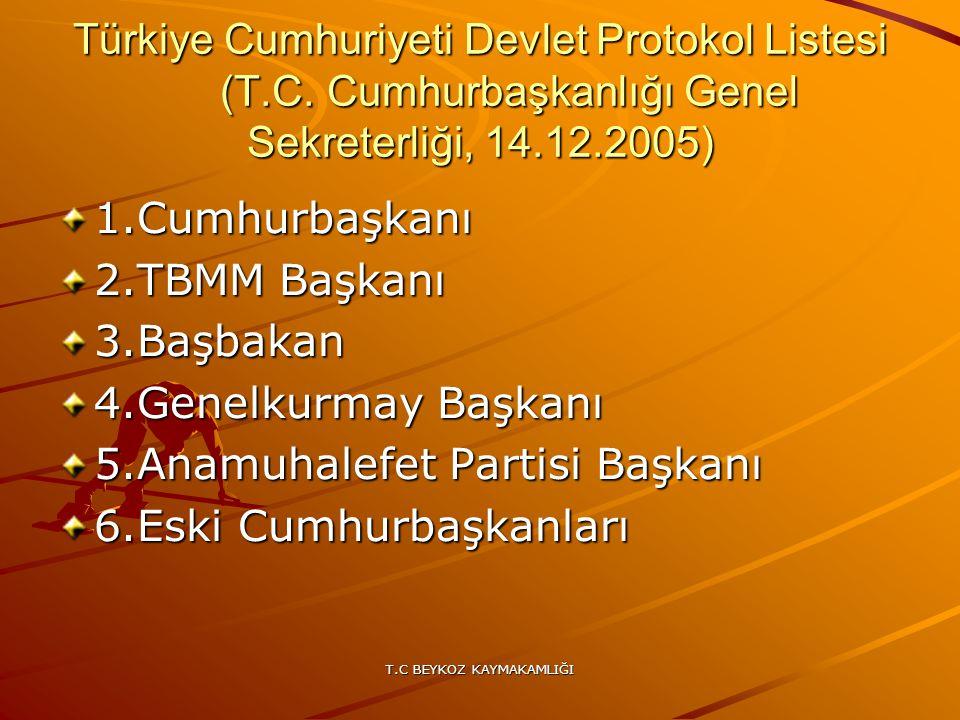 T.C BEYKOZ KAYMAKAMLIĞI Türkiye Cumhuriyeti Devlet Protokol Listesi (T.C. Cumhurbaşkanlığı Genel Sekreterliği, 14.12.2005) 1.Cumhurbaşkanı 2.TBMM Başk