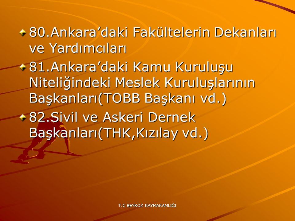 T.C BEYKOZ KAYMAKAMLIĞI 80.Ankara'daki Fakültelerin Dekanları ve Yardımcıları 81.Ankara'daki Kamu Kuruluşu Niteliğindeki Meslek Kuruluşlarının Başkanl
