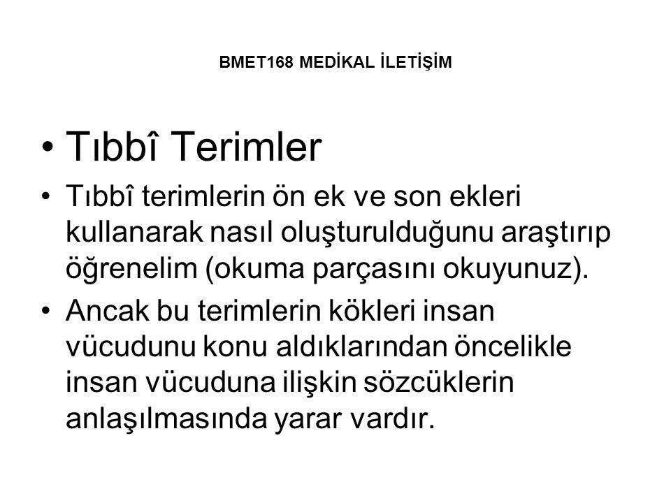BMET168 MEDİKAL İLETİŞİM Tıbbî Terimler Tıbbî terimlerin ön ek ve son ekleri kullanarak nasıl oluşturulduğunu araştırıp öğrenelim (okuma parçasını oku