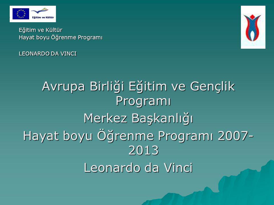 Eğitim ve Kültür Hayat boyu Öğrenme Programı LEONARDO DA VINCI Avrupa Birliği Eğitim ve Gençlik Programı Merkez Başkanlığı Hayat boyu Öğrenme Programı 2007- 2013 Leonardo da Vinci