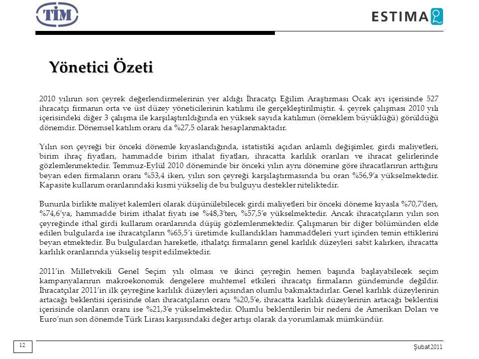 Şubat 2011 Yönetici Özeti 12 2010 yılının son çeyrek değerlendirmelerinin yer aldığı İhracatçı Eğilim Araştırması Ocak ayı içerisinde 527 ihracatçı fi