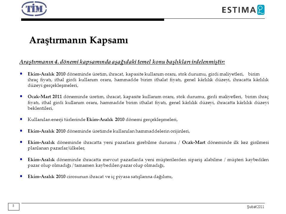 Şubat 2011 Araştırmanın Kapsamı Araştırmanın 4. dönemi kapsamında aşağıdaki temel konu başlıkları irdelenmiştir: Ekim-Aralık 2010 döneminde üretim, ih