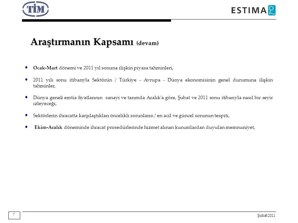 Şubat 2011 Araştırmanın Kapsamı (devam) Ocak-Mart dönemi ve 2011 yıl sonuna ilişkin piyasa tahminleri, 2011 yılı sonu itibarıyla Sektörün / Türkiye -